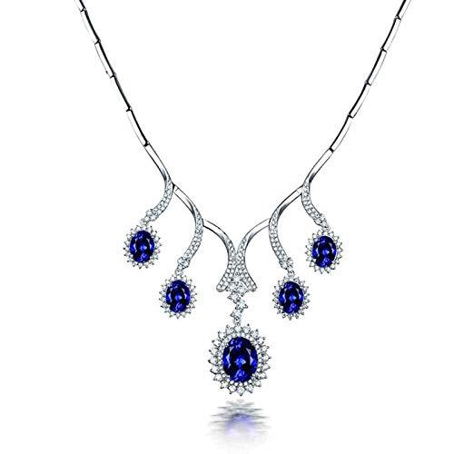 AnazoZ Collar Tanzanita Mujer,Collares de Oro Blanco 18K para Mujer Plata Azul Ramas Tanzanita Azul 12.95ct Diamante 3.6ct