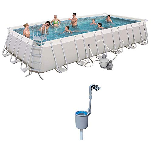 Bestway 24ft x 12ft x 52in Rectangular Above Ground Pool Set w/Pool Skimmer -  56477E-BW + 58233E-BW