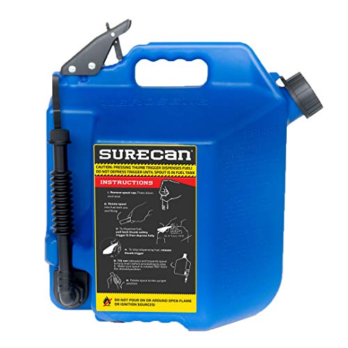 Surecan 5 Gallon 19 Liter Self Venting Kerosene Fuel Can w/Rotating Spout, Blue