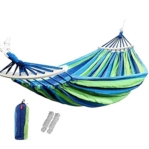 YGXS Outdoor Canvas Hammock, Camping Hammock with Wooden Sticks Portable Outdoor Hammock 400Kg Load Suitable for Travel Beach Backyard And Balcony,Blue,260 * 150cm
