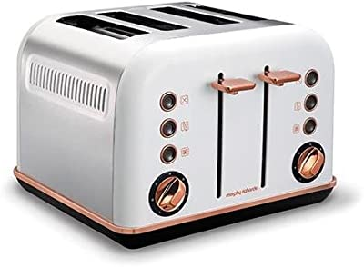 Morphy Richards 242108 White Accents 4 Slice Toaster Rose Gold w/Removable Tray