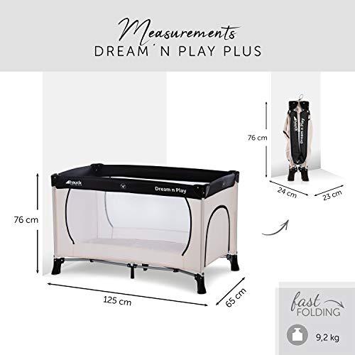 Hauck Kinderreisebett Dream N Play Plus, inkl. Hauck Reisebettmatratze, tragbar und klappbar, 120 x 60 cm, Beige/Grau - 2