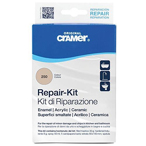 Cramer 16250IT Kit-Riparazione Superfici smaltate, Acrilico e Ceramica - beige bahamas / visione - per riparazioni durature di vasche da bagno, piatti doccia e lavabi