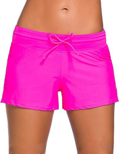 Ocean Plus Damen Unifarben Badeshorts mit Verstellbarem Tunnelzug Wassersport UV-Schutz Bikinihose Boardshorts Hotpants (XXL (EU 42-44), Rosa)
