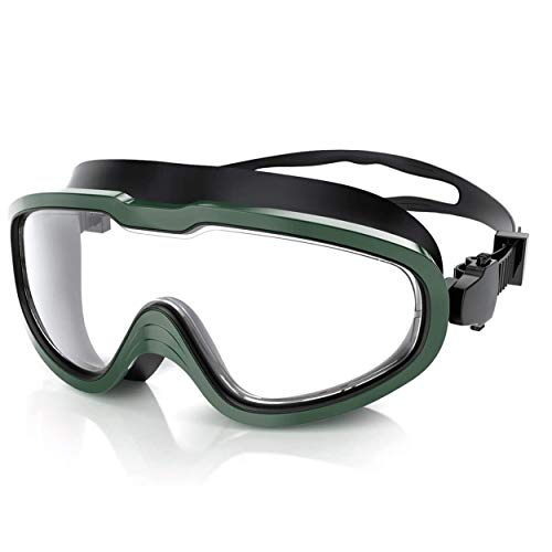 QcoQce Unisex Schwimmbrille, Schwimmbrillen Linse Verstellbar Gurt mit UV-Schutz und Anti Nebel,Taucherbrille Für Erwachsen und Kinder Einschlie Ohrenstöpselsets und Nasenklammern