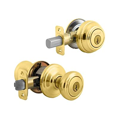 Kwikset 991 Cameron Entry Knob and Single Cylinder Deadbolt Combo Pack featuring SmartKey in Satin Nickel