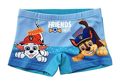 Paw Patrol Pantaloncini da Bagno per Bambino, Costume Mare Boxer Calzoncini da Bagno, Traspirante ad Asciugatura Rapida, Colore Azzurro, Taglie 4 Anni