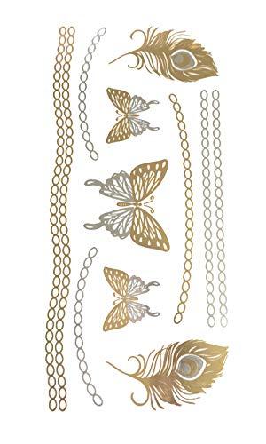 STRASS & PAILLETTES - Tatouages éphémères métallique Waterproof Papillon Chaine. Tatoo temporaire Or - Bijou de Peau
