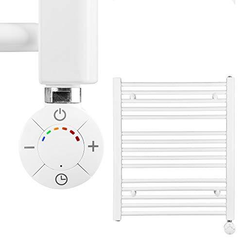 HEATSUPPLY® Badheizkörper elektrisch 702 x 600mm Handtuchheizkörper 600 Watt Handtuchtrockner weiß inkl. Heizstab Smart Thermostat