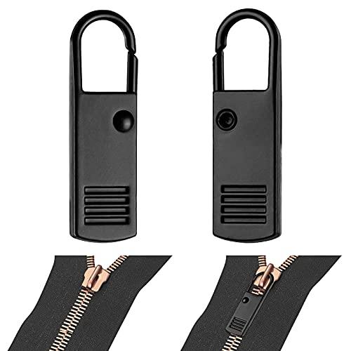 WIFUN Reißverschluss Schieber, Zipper für Reißverschluss Anhänger Metall Pull Tabs Reißverschluss Puller Laschen für Tasche Koffer Mantel Jeans, Schwarz, 2 Pack