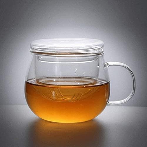 Riyyow Tetera de Vidrio Resistente a la Temperatura de la Creatividad para la Cocina de inducción para el té Plano del té del Filtro de Acero Inoxidable con la Oficina del hogar