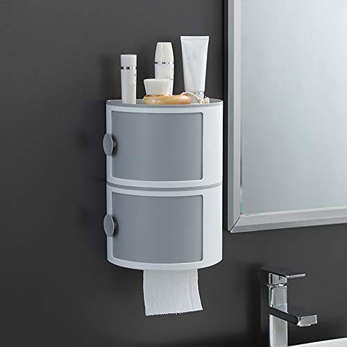 Double-Layer Toilet Paper Rack, Toilet Paper Box gratis ponsen waterdicht papier Roll creatieve ladekast A2