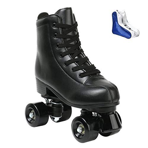 XUDREZ Roller Skate Shoes for Women Men PU Leather High-top Double-Row Roller Skates for Beginner,...