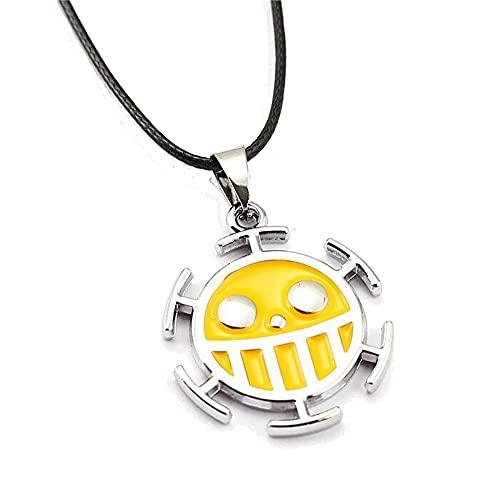 One Piece - Collar con colgante de metal con logotipo de Trafalgar Law Jolly Roger, color amarillo