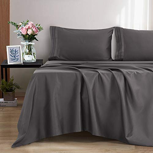 """EASELAND 100% Cotton Sheets King Size Bed Sheets Set 600 Thread Count Cooling Bedding Soft Hypoallergenic Breathable 4 Pieces 14"""" Deep Pocket (King, Dark Grey)"""