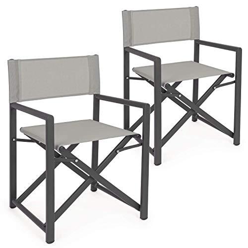 Set da 2 sedie regista in alluminio da giradino richiudibili, struttura in alluminio e textilene, coppia di poltrone, sedia regista da esterno (Grigio)