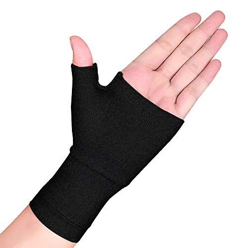 ZEPOHCK Compression Wrist Support Sports Wristband Bracer Hand Palm Protector Wrist Wraps Strap Gloves (Black, Large(16.28.5cm))
