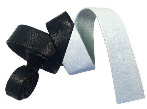 De cuero de piel de grosor fino de corbata, Negro/Blanco,