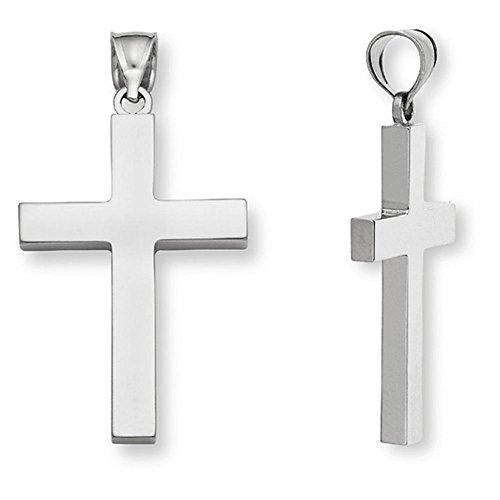 Platinum Men's Cross Pendant Necklace Fully Solid