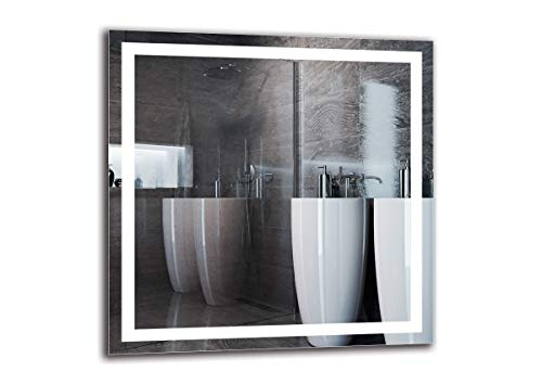 Espejo LED Premium - Dimensiones del Espejo 80x80 cm - Espejo de baño con iluminación LED - Espejo de Pared - Espejo de luz - Espejo con iluminación - ARTTOR M1ZP-47-80x80 - Blanco frío 6500K