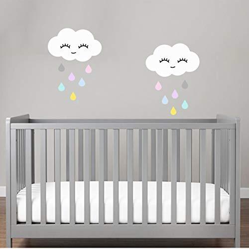 Wandtattoo Regenwolke Wolkenset mit Bunte Tropfen Wolke mit Gesicht Regenbogen Vinyl und Wimpern Wandsticker (Wolke Regen bunt mit Gesicht)