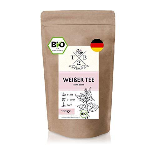 Bio Weißer Tee – Pai Mu Tan Tee lose. 100 g – weich, duftig und aromatisch. (ca. 40 Tassen) | Tea2Be by Sarenius
