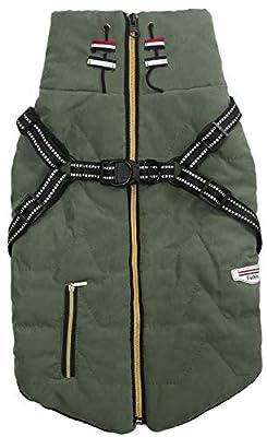 Geyecete pet Outdoorfront clothing,Dog Coat Waterproof Winter Jacket Warm Vest Dog Clothes Dog Coat Warm Winter-Green-M
