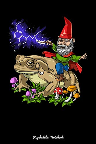 Psychedelic Notebook: Fantasy Gnome Riding Bufo Alvarius Toad Psychedelic Trip Notebook