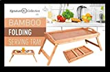 Bamboo Wooden Tray, Breakfast in Bed,Serving Folding Food Tray with Foldable Legs
