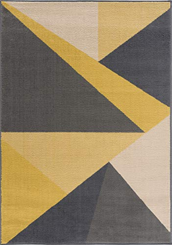Tapis moderne à motif géométrique, triangle, grand et petit tapis en jaune 120 x 170 cm