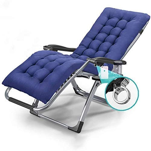 PARTAS Sun Lounger Garden Chairs Patio Lounger Deck Chair in Garden &Outdoors Folding Zero Gravity Chair Portable Reclining Lawn Sun Loungers Supports 200kg (Size : With Blue Cushions)