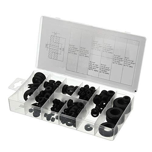 Yulakes 180pcs Gummi Tüllen Sortiment Kit Elektrischer Leiter Dichtungsring Satz für Draht, Stecker und Kabel