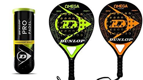 Dunlop Omega PRO & 3 Dunlop Pro - Juego de palas de pádel