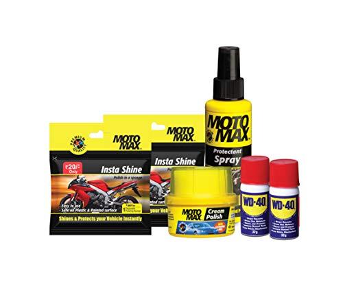 Motomax PIDILITE Car & Bike Care kit - Cream Polish 60g, Protectant Spray 100ml, Instashine 2U, Multi Purpose spray 32g Multi-Use Spray 2U