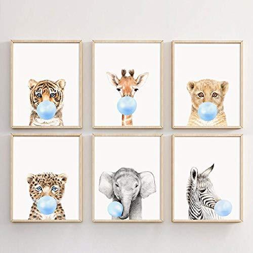 Wanddecoratie dier blazen kauwgom leeuw zebra olifant giraffe tijger canvas schilderij muurkunst decoratie 40x60 cm F