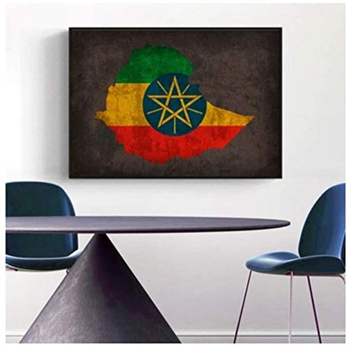 Canvas print,Vintage klassieke kunst home ideeën land vlag kaarten poster Vintage Ethiopië land vlag kaart Home decor Wall Art Decor-60x80cm