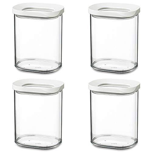 Mepal 106921030600 Modula Vorratsdose, Kunststoff, 375 ml, transparent/weiß (4 Stück)