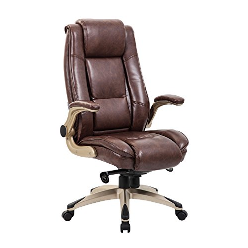 KADIRYA High Back Bonded Leather Executive Office Chair - Adjustable Recline Locking...