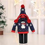 Nihlsfen Tapa de Botella con Sombrero Decoración de Botella de Vino de Navidad Paño de Botella de Vino Decoración de Cocina Decoración de Fiesta de Cena de Navidad portátil - Multicolor