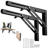 soportes de estante plegables de 25cm, de acero inoxidable resistente, soporte de estantería, montaje en pared, soporte flotante para estantería de libros, soporte de mesa, silla, etc(2Pcs)