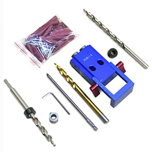 Soporte De Taladro,Soporte Taladro Vertical Sistema de kit de jig de aluminio mini estilo de bolsillo para destornillador de carpintería con tapones de bolsillo tornillos herramienta de localizador de