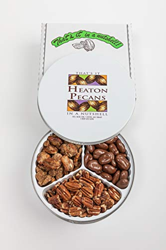 Heaton Pecans Three-Way Gift Tin - Oven Roasted/Salted Pecans, Praline Pecans, and Chocolate Covered Pecans (3 lbs)