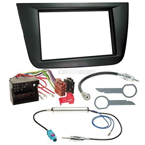 Carmedio Seat Altea 5P ab 04 2-DIN Autoradio Einbauset in original Plug&Play Qualität mit Antennenadapter Radioanschlusskabel Zubehör und Radioblende Einbaurahmen schwarz