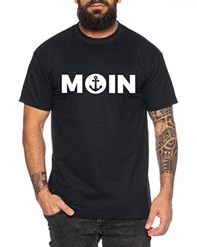 Moin Anker Herren T-Shirt Cooles lustiges Fun-Shirt, Farbe:Schwarz, Größe:3XL