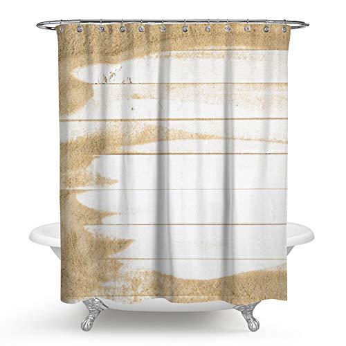 QCWN Holz-Duschvorhang, Sand auf weißem Holz, Landhaus-Stil, Duschvorhang-Set mit Haken für Badezimmer-Dekor, Weiß / Gelb 177,8 x 177,8 cm