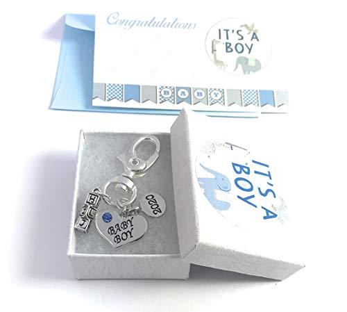 Forme de cœur bébé garçon 2018 Porte-clés avec boîte cadeau à la main par Libby de place de marché