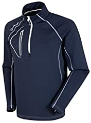 HALF ZIP MEN'S PULLOVER: Designed for warmth and comfort, this long sleeve pullover for men features a half zip neck, stylish vertical chest pocket and contemporary contrast stitching. FREEDOM OF MOVEMENT: The SuperliteFX fabric has a good dose of sp...