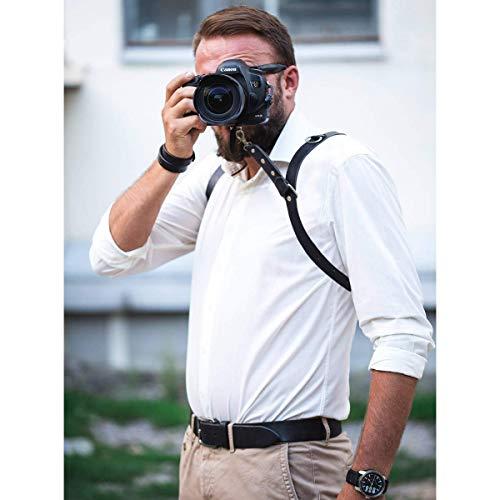 Arnés de Piel Ajustable para cámara de Doble Hombro: Amazon.es ...