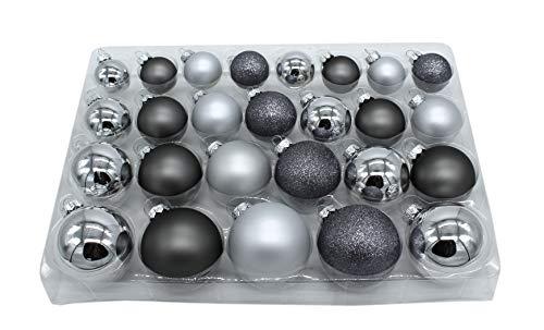 DARO DEKO Weihnachts-Kugel Mix Paket 52 Stück Silber