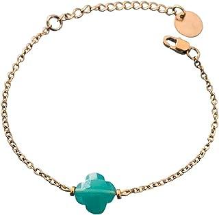 Braccialetto di trifoglio, bracciale fortunato a 4 foglie di trifoglio e perle Heishi d'oro, bracciale d'oro, bracciale di...